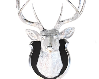 Faux Taxidermy Chrome Deer Head Wall Mount - Black and Chrome Shield Mount D1313/DS1713
