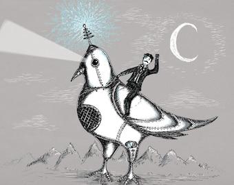 Nikola Tesla Riding A Giant Robotic Laser Pigeon- A4 art print by Jon Turner- geeky artwork- FREE WORLDWIDE SHIPPING