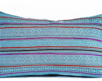 Thai Blue pillow cover - Hmong Turquoise Pink pillow - Blue Thai pillow - Boho, Ethnic, Tribal pillow cover