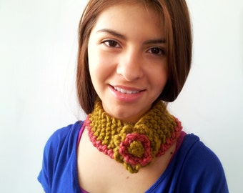 Gold and Rose Neckwarmer or Earwarmer. Choose Your Colors.