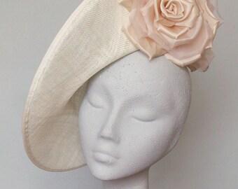 Ivory Disc Fascinator Royal Ascot Hat, Kentucky Derby Hat - Julia