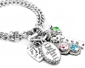Mother's Charm Bracelet with Children's Names and Birthstones, perfect for Mom, Nana, Mimi, Grandmother in stainless steel