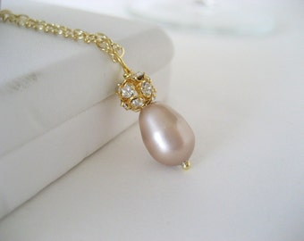 Swarovski Teardrop Pearl and Crystal Rhinestone Necklace and Earrings...Gold filled...FREE SHIPPING