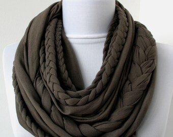 Brown Loop Scarf - Infinity Jersey Scarf - Partially braided Circle Scarf - Scarf Nekclace