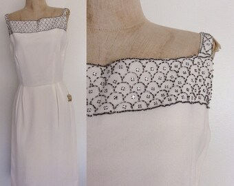 1960's Deadstock White Chiffon Wiggle w/ Scalloped Beaded Rhinestone Neckline Vintage Dress Size Medium by Maeberry Vintage