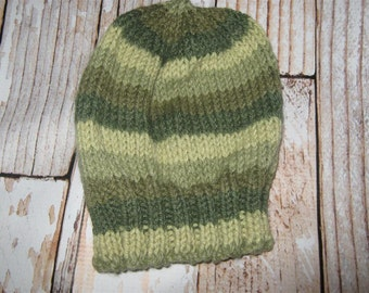 Hand Knit Baby Hat Olive stripe Acrylic blend size 3 - 6  months