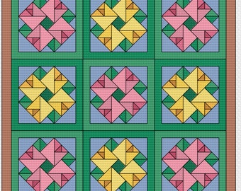 """Cross Stitch Pattern - Quilt Block - Double Aster - """"Spring Roses"""""""