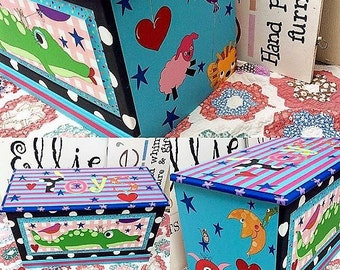 Toy Box Toy Chest Custom Painted Treasure Chest for Kids Children's Toy Box