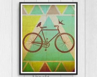 Boho Chic druckbare Wandkunst - Bike digitalen Download - druckbare Kunst - Druck Ihre eigenen Bilder für Hauptdekoration - Decoupage Papier