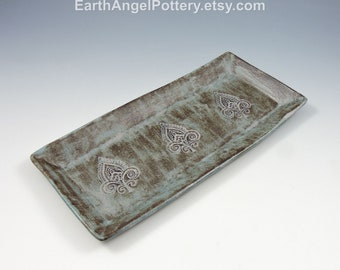 Blue Ceramic Textured Handmade Stoneware ~ Tray Perfect for Cheese, Candy, Dips etc.
