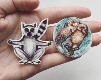 Lemur and Otter Illustrated Shrink Plastic Badges, Lemur Pins or Keyring, Otter Brooch or Keychain, Fun Animal Accessories, Handmade Gifts