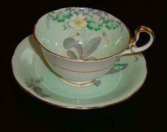 Aynsley Minty Green with Primrose Tea Cup and Saucer