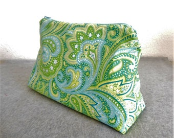 Large Cosmetic Bag - Green and Blue Paisley