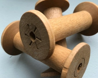 SALE Today Blonde Wooden Bobbins 3 Inch Wood Thread Spools Set of 12 Primitive Rustic Cabin Decor