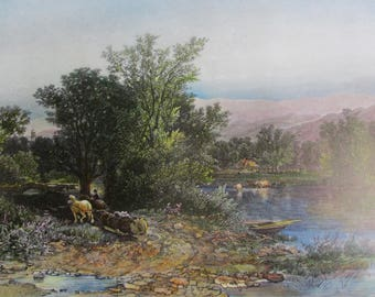 THE HOUSATONIC Vintage Color Reproduction Print Nature Art Mountains Lakes Rivers Ready to Frame Additional Prints Ship Free