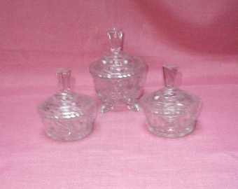three lidded glass bowls/potties/containers/crystal glass/British/Shabby Chic