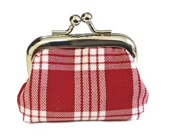 The Little Red Palaka Purse - Tiny Kisslock Metal Frame Coin Purse