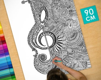 Poster / Poster deco coloring (90cm) violin - coloring for adults