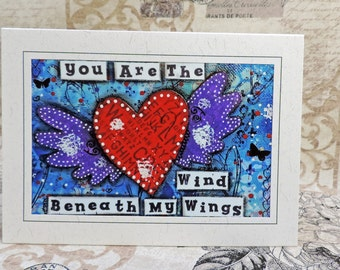 Heart Wings, Wind Beneath My Wings Inspirational Love Greeting Card