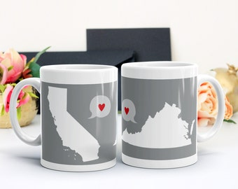 2 State Mug Two State Long Distance Gift Personalized Country Mugs Best Friend Gift Miss You Moving Gift Grandparent Gift Sisters Mom Mug