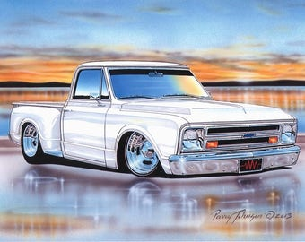 1967 Chevy C10 Stepside Pickup Classic Truck Art Print w/ Color Options