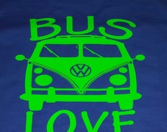 Youth VW Bus Love T Shirt, Shown on a Blue T with Green design
