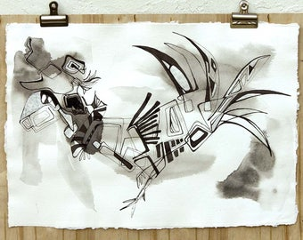 Abstract fine art, original black ink painting on handmade watercolor paper, black ink zen wall art Victoria Kloch