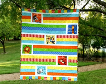 Baby Quilt - Animal quilt - Think Positive Quilt - Animals and Words Quilt