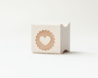 Heart Stamp, Scalloped Edge, Cute Heart, Wooden Stamp, Packaging
