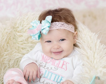 Pink and teal hair bow and headband, Newborn Photo Prop, Baby girl headband, pink and  aqua polka dots on a pink stretch lace,  headband