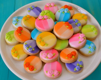 24 Mini Rainbow Ombre Sugar Cookies