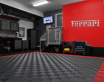 Ferrari Garage Sign 6 Feet Long Brushed Silver