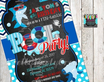 Chalkboard SHARK POOL PARTY invitation - you print - blue/red