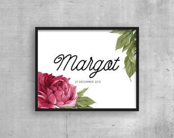 Personalised wall art - PERSONALIZED Nursery print - Custom kids room print - Peony rose - Digital download Girls rooms - Name Birth date