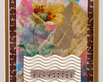 Original Mixed Media Collage, Sing to Me, with Writing