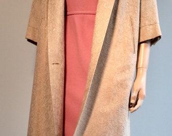 Vintage 50s IVORY BROCADE SWING Cape Coat