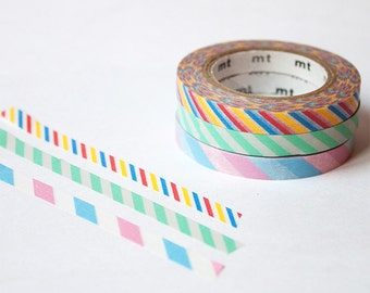 thin washi tape set - mt slim - Candy Stripes (A) - mt masking tape