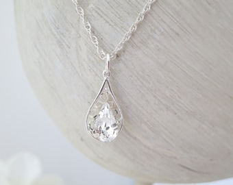Dainty crystal necklace, Swarovski teardrop filigree necklace, Simple wedding necklace, Crystal bridal pendant, Bridesmaid necklace