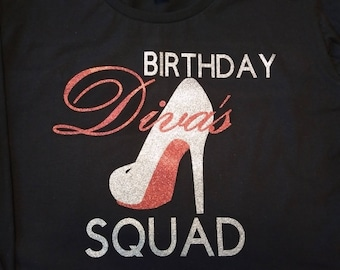Diva Birthday Shirt with red and silver glitter vinyl
