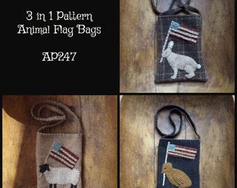E Pattern Animal Flag Bags Sheep Peep Chick Rabbit Bunny Wool Pocket
