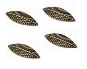 Set of 20 bronze 21 mm x 7 mm leaf charms