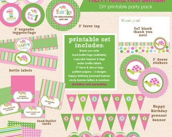 Preppy Turtle First Birthday Party - DIY/Printable Complete Party Pack - INSTANT DOWNLOAD!