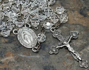 Czech Crystal Rosary of Clear Crystal, 5 Decade Rosary, Catholic Rosary, April Rosary, Birthstone Rosary, Large Rosary, Miraculous Medal