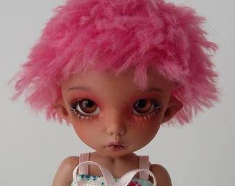 BJD pukifee color flashy pink wig 5-6