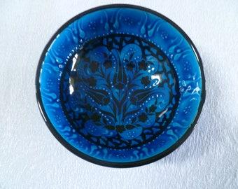 "Blue Ceramic Bowl, Turkish ceramic bowl, 5"" bowl, tulip floral design, small bowl, desert bowl, sapphire blue, trinket bowl, birthday gift"
