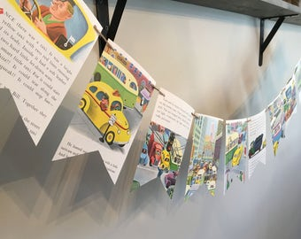 TAXI CAR CITY vintage children's book page banner bunting garland