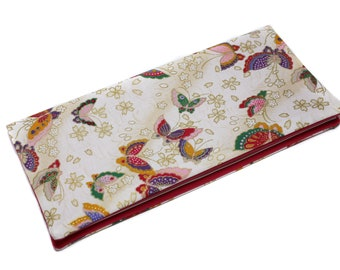 Gift wedding - original family book in Japanese fabric case beige butterflies protects family book, family book cover
