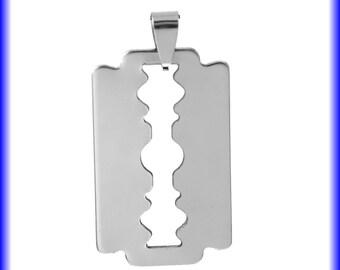 2 x Stainless Steel Razor Blade Pendants