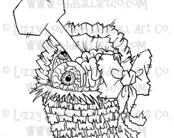 Digi Stamp Digital Instant Download Zombie Easter Basket Image No. 36 by Lizzy Love