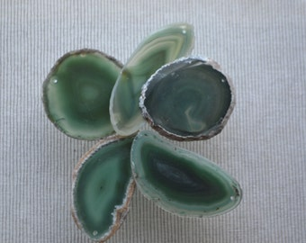 TWO HOLES......GREEN Brazilian agate slice - agate slice pendant green agate stone slice, party favors, hostess gifts